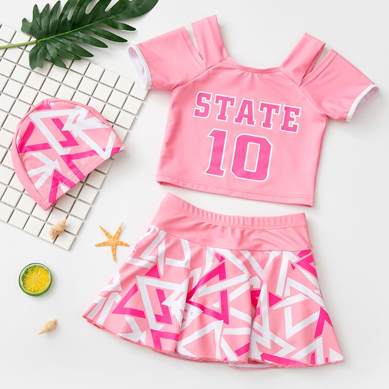 儿童泳衣女童中大童宝宝裙式分体2020新款温泉游泳衣女孩可爱泳装