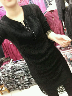 Mink cashmere cashmere stitching lace with shirt in the long winter, take the V collar female long sleeve slim warm coat