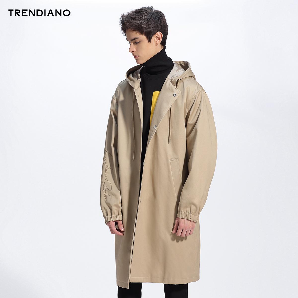 TRENDIANO新2018男装春装潮长款宽松连帽纯棉风衣外套3GE1046840