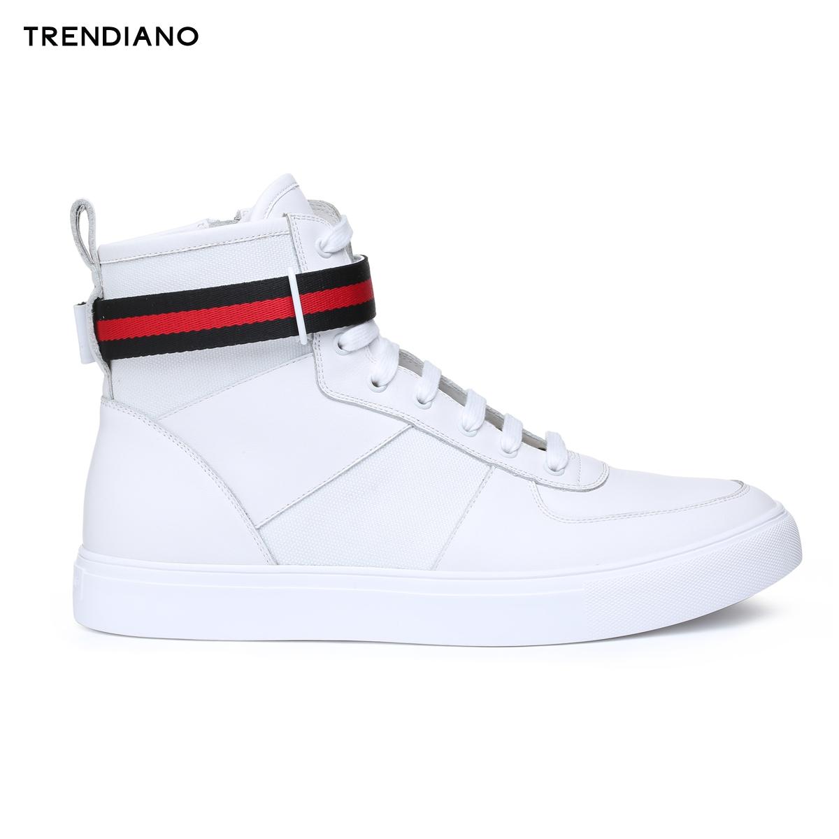 TRENDIANO新男装秋装休闲条纹织带撞色拼接系带高帮鞋3JA3518190