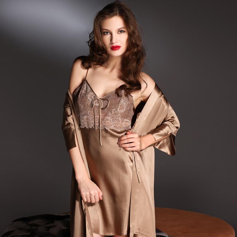 狄兰丝蕾丝v领吊带裙七分袖外袍真丝吊袍睡袍两件套睡衣女d8629图片