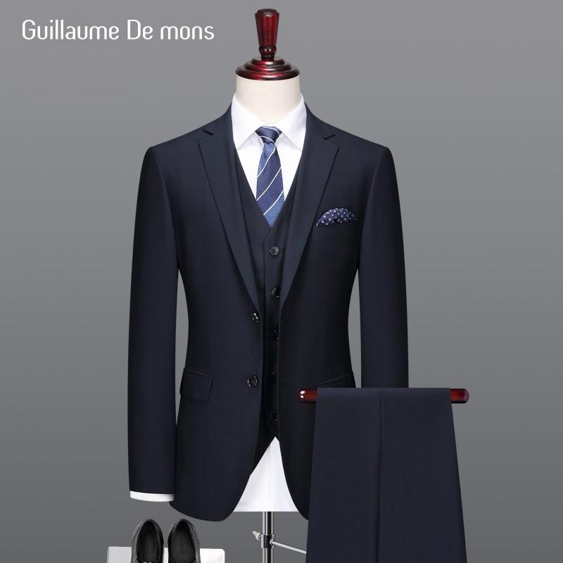 新郎伴郎结婚礼西服套装男士休闲修身羊毛商务上班正装藏青色西装