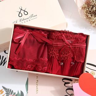 本命年内裤女鼠年大红色结婚三角裤纯棉低腰性感蕾丝火辣红内裤女