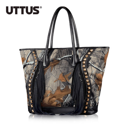 UTTUS big bag 2015 spring and summer handbags new wave of female bag rivets tassel handbag shoulder bag printing