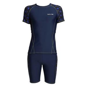 新款男士泳衣游泳运动短袖上衣平角泳裤套装分体成人大码泳装速干