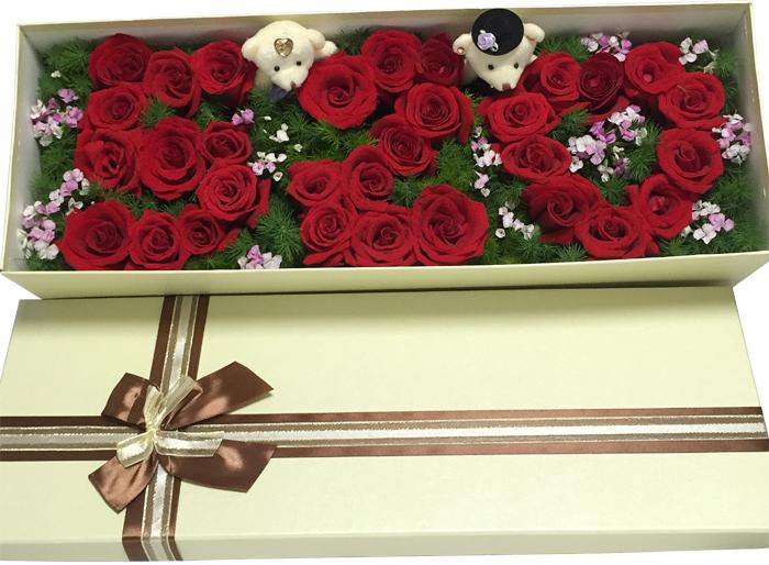 花材;99朵粉玫瑰,绿材搭配和满天星,粉色纸包装,外围粉色纱,图片