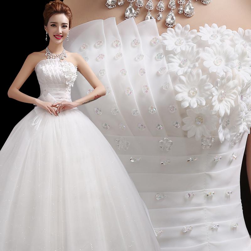 森系主婚纱2019新款公主梦幻齐地抹胸简约新娘结婚长拖尾礼服显瘦
