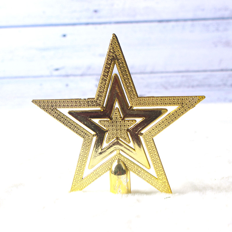 Huachi 20cm Tree Top star five-pointed star Christmas tree ornaments pendant small Christmas scene layout