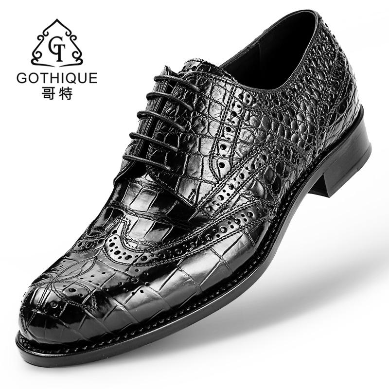 哥特进口鳄鱼皮皮鞋男真皮正品固特异工艺圆头商务布洛克雕花男鞋
