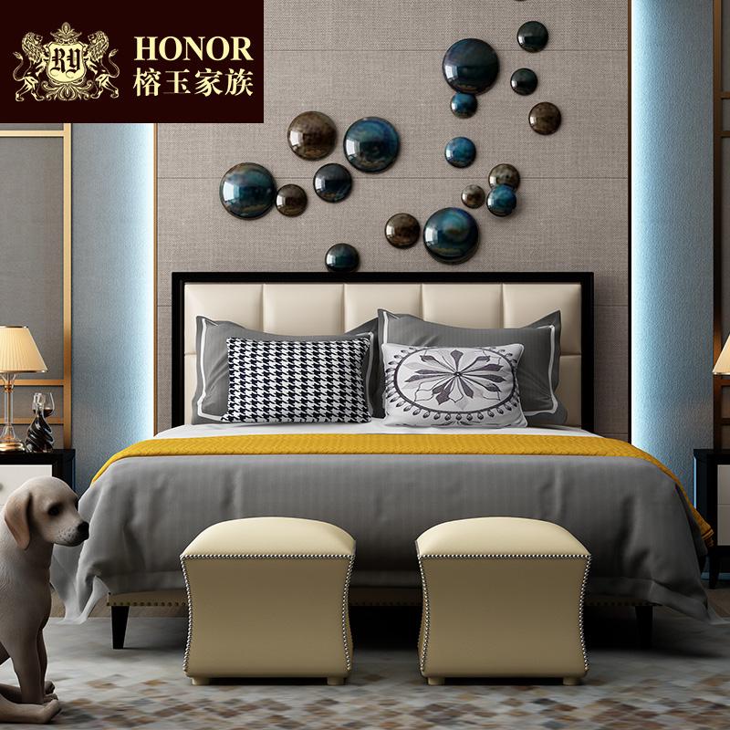 美式床輕奢真皮床1.5米簡美床實木床后現代簡約雙人床主臥家具1.8