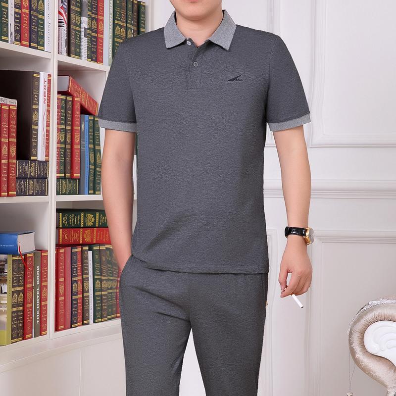 夏季中老年运动服套装男夏短袖长裤中年大码薄款爸爸装休闲跑步服