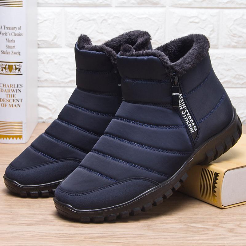 老北京老人保暖雪地靴男棉鞋冬加绒防滑防水中老年男士爸爸高筒鞋