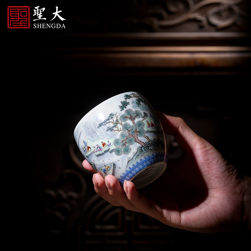 St the ceramic kongfu master cup hand - made heavy pastel song water renovation of works lie fa cup of jingdezhen tea service by hand
