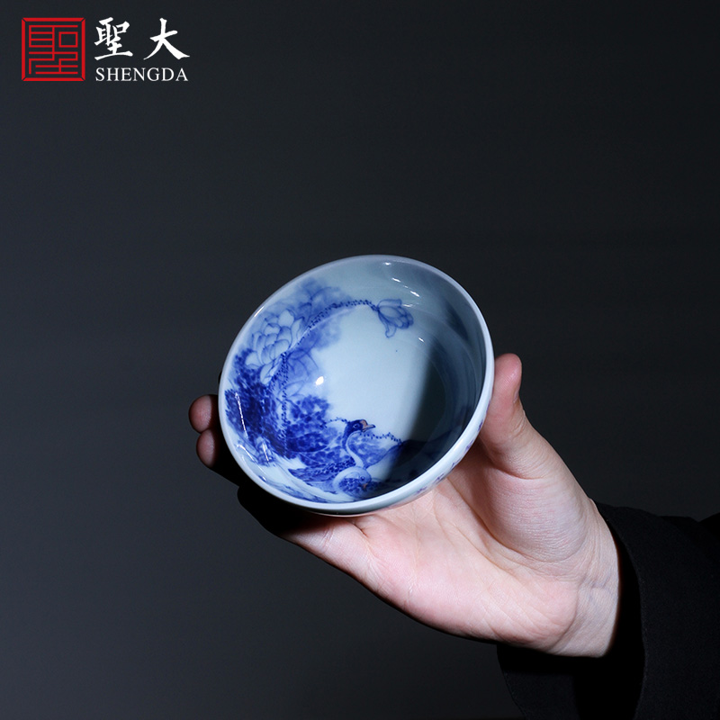 Holy big ceramic kung fu masters cup hand - made porcelain cups double chicago-brewed goose figure jingdezhen verse or a cup of tea by hand