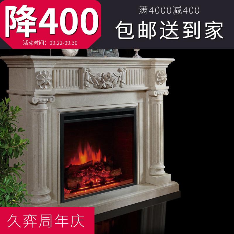 大理石壁炉架欧式美式装饰柜客厅电视柜简约现代天然石雕石头壁炉