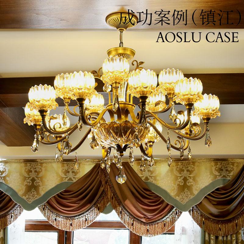 奥施洛欧式全铜客厅吊灯现代简约铜灯大气奢华简欧纯铜水晶吊灯