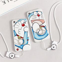 苹果6手机壳挂绳硅胶指环支架iPhone7 plus新款创意6s卡通哆啦a梦