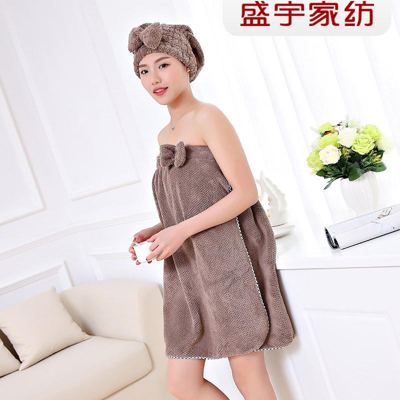盛宇家纺 浴裙与干发帽菠萝格蝴蝶结口袋浴裙两件套