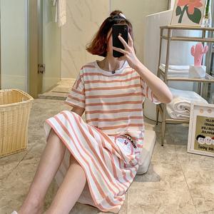 纯棉睡裙女夏季韩版春秋学生家居服可爱薄款短袖宽松睡380#