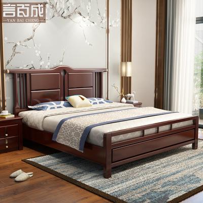 言百成 实木床1.8米新中式主卧床双人床1.5M卧室古典禅意卧室家具