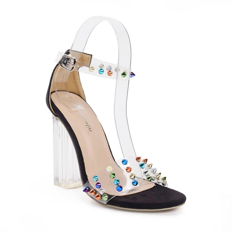 Transparent-heel& rivet sandals