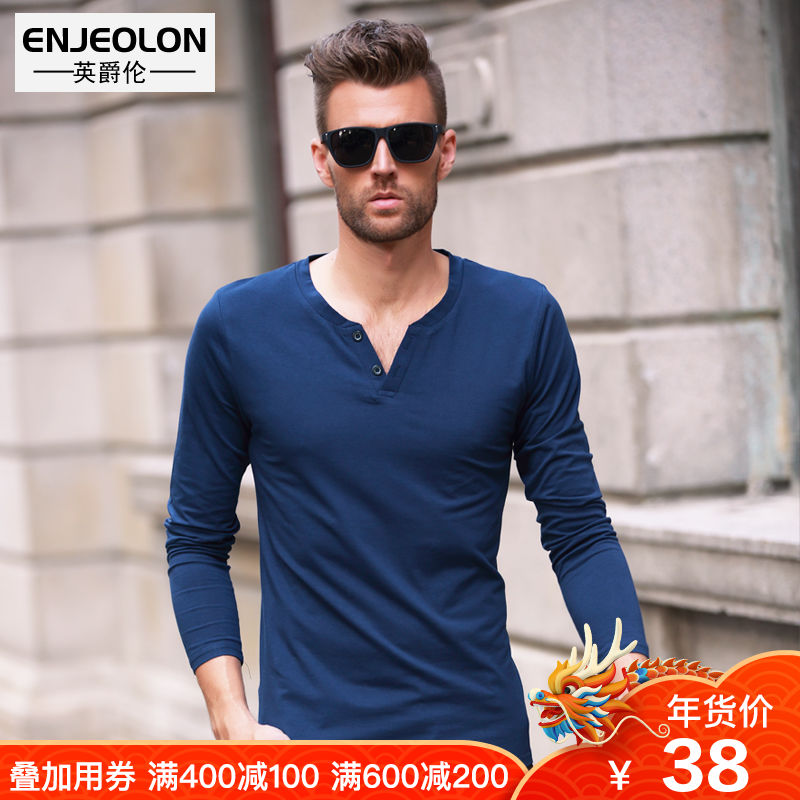 British Lord men's long-sleeved T-shirt spring slim comfortable European and American style simple solid color men's shirt