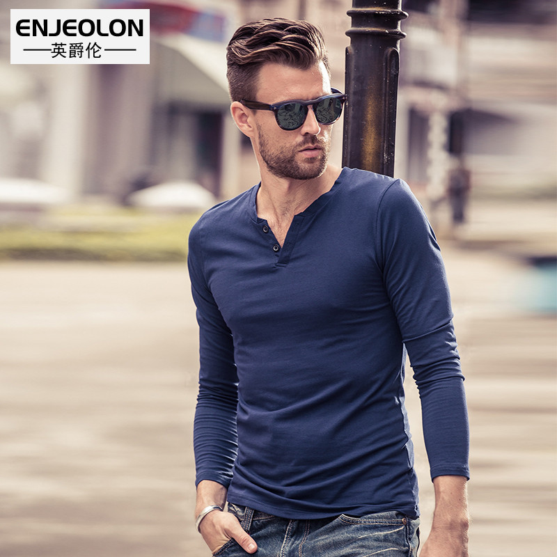 British men's V-neck long-sleeved T-shirt autumn slim comfortable European and American style simple solid color men's undershirt