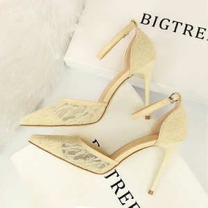 283-8 European and American wind sexy high-heeled shoes high heel with shallow pointed mouth mesh lace hollow out on