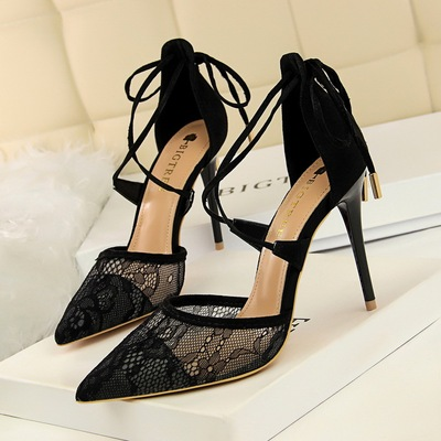 1627-6 European and American wind sexy high-heeled shoes high heel with shallow pointed mouth mesh lace cross hollow out