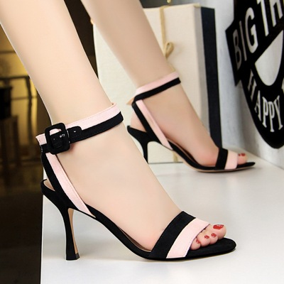 566-2 han edition new fashion high heels for women's shoes glass with high word dewy toe sandals with suede color m