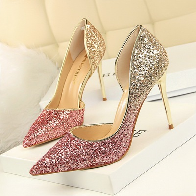 868-9 European and American high heels, shallow, pointy, sexy, night clubs, thin, coloured, gradually coloured, sequins,