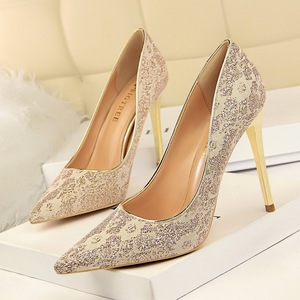 9511-13 European and American wind high party shoes high heels and sexy nightclubs with shallow pointed mouth single sho