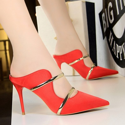 1788-2 the European and American wind sexy female sandals fine with high heels satin light mouth pointed hollow metal wo