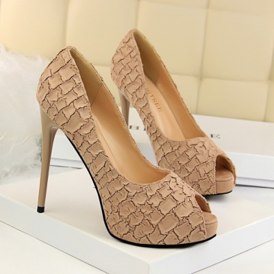 1675-3 Han edition sexy club high heels for women's shoes high with waterproof light mouth stone grain fish mouth single