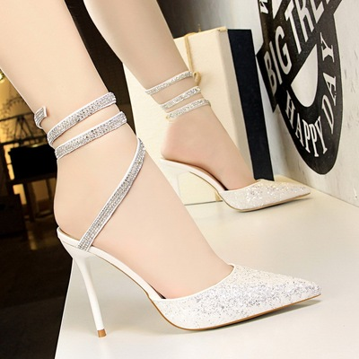 283-9 European and American wind sexy club for women's shoes high heel with shallow pointed mouth shining sequins f