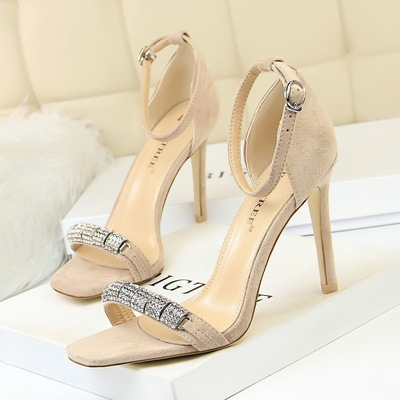 217-6 European and American fashion sexy party with suede peep-toe shoes heel high metal diamond one word with sandals