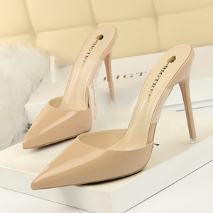 86-8 han edition contracted fashion show thin fine with high heels paint baotou shallow transparent one word with pointe