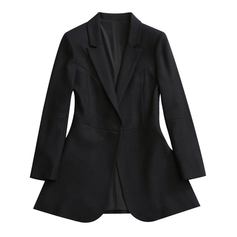 霏霏春秋毛呢西装女修身收腰中长黑色显瘦韩版开叉小香风西服外套