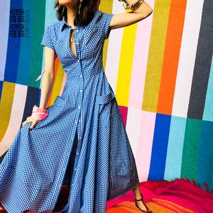 霏霏春夏蓝色格子沙滩裙纯棉气质连衣裙欧州站修身衬衫裙大摆裙