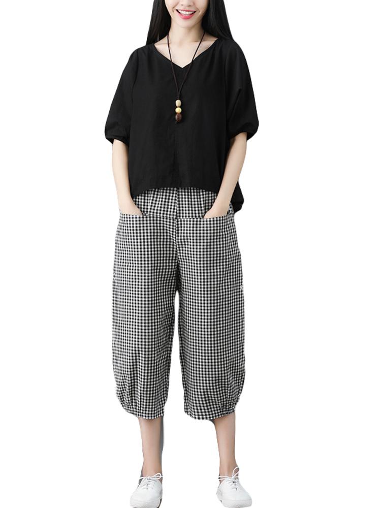 おしゃれな綿麻セット女性の夏2019韓版のゆったりした半袖の上着7分のワイドズボンのリネンレジャーの2つのセット,タオバオ代行-代行奈々