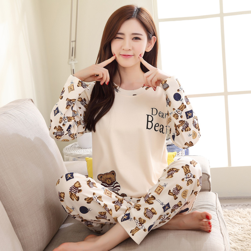 睡衣女士纯棉春秋长袖大码卡通可爱韩版家居服可外穿甜美夏季套装