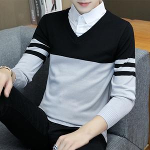 男士假两件衬衫领毛衣男外套针织衫青年潮流帅气长袖衫 202#