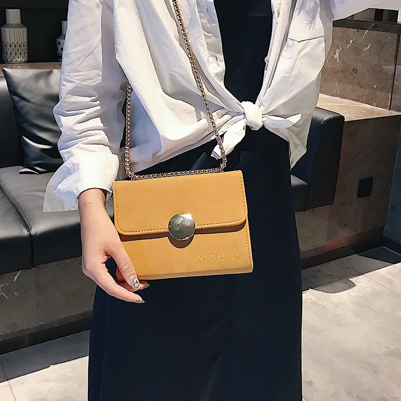 On the new small bag female 2018 new Korean version of the simple frosted chain shoulder bag tide fashion diagonal package small square bag
