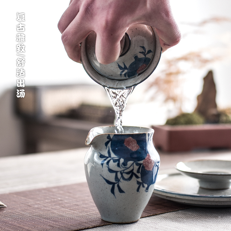 Poly real view jingdezhen blue and white pomegranate tureen antique hand - made coarse pottery kung fu tea set three restoring ancient ways to make tea tureen