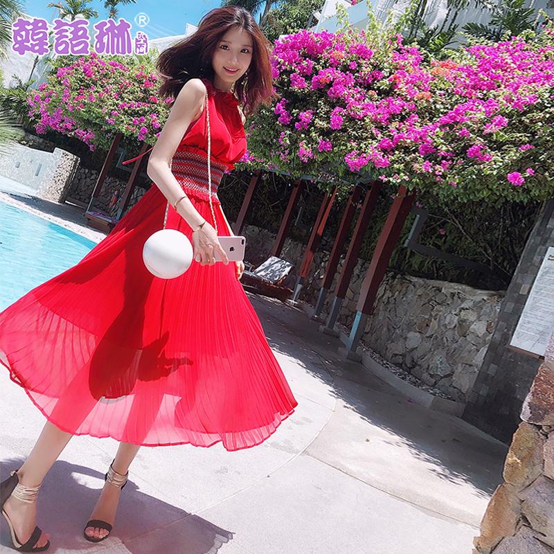韩语琳空间夏季2018亚博线上开户性感露肩气质挂脖收腰雪纺连衣裙女长裙子