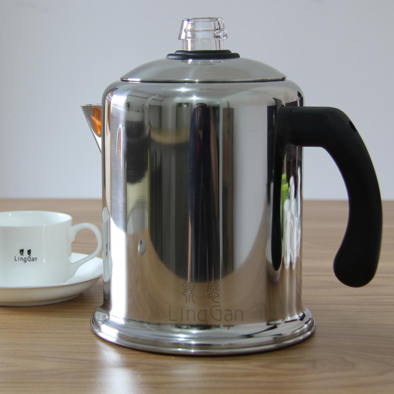 领感不锈钢老上海美式煮咖啡壶 蒸茶器家用虹吸式摩卡壶免滤纸机
