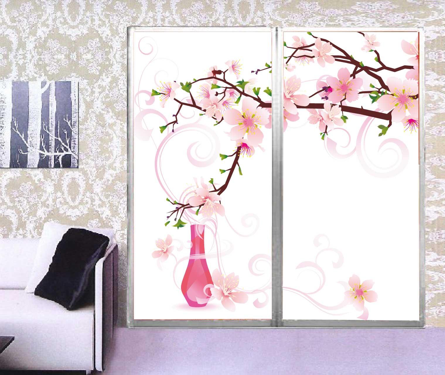 MS透明隔断厨柜移门推拉门粉色花卉