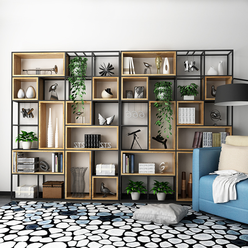 北欧实木书架书柜美式LOFT铁艺屏风隔断置物架简约现代落地储物架