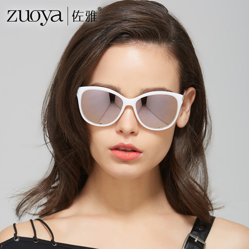 a2132d1286 ... Zuoya sunglasses female round face big box fashion 2018 new sunglasses  simple thin legs driving driving