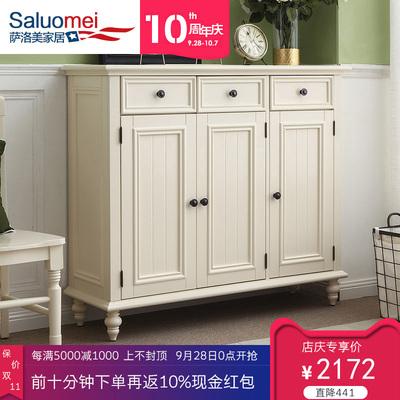 美式纯白色鞋柜全实木1.2米简美田园三门鞋柜地中海客厅实木鞋柜